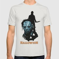 Halloween : Monster Madness Series Mens Fitted Tee Silver SMALL