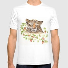Tiger in Strawberries Mens Fitted Tee White SMALL
