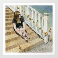 Golden Fish Ladder Art Print