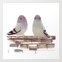 Pigeons In Love Art Print