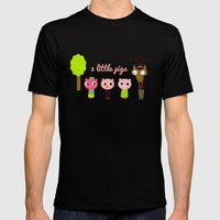 3 Little Pigs Mens Fitted Tee Black SMALL