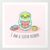 Reading Sloth Art Print