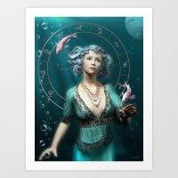 Pisces Zodiac Fantasy Ci… Art Print