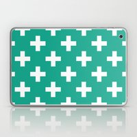 Emerald and White Plus Signs  Laptop & iPad Skin