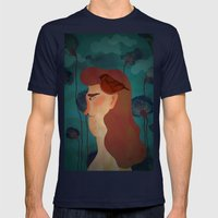 lady with bird Mens Fitted Tee Navy SMALL