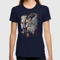Mononoke San and The Spirit of the Wolf Womens Fitted Tee Navy SMALL