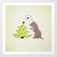 Cartoon Dinosaur And Christmas Tree Art Print