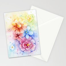Flowers Rainbow Watercolor Stationery Cards