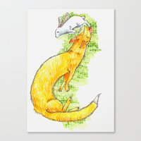 Fox Chasing Rabbit Canvas Print