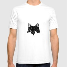 Black & White cat Mens Fitted Tee SMALL White