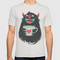 Demon With A Cup Of Coff… Mens Fitted Tee Silver SMALL
