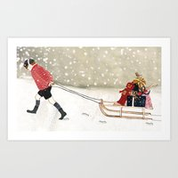 Boy with sledge Art Print