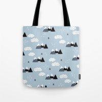 Cool winter wonderland snow Fuji Mountain geometric illustration pattern Tote Bag