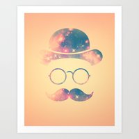Retro Face with Moustache & Glasses / Universe - Galaxy Hipster Art Print