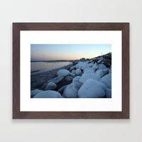 Snowballs on the Beach Framed Art Print
