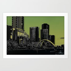 Melbourne City - Footbridge over Yarra River  Art Print