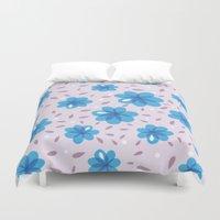Gentle Blue Flowers Patt… Duvet Cover