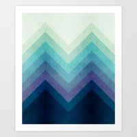 Retro Chevrons 001 Art Print