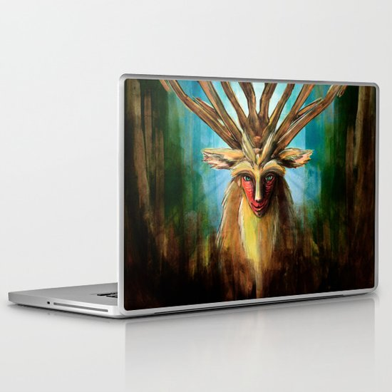 Princess Mononoke The Deer God Shishigami Tra Digital Painting. Laptop & iPad Skin