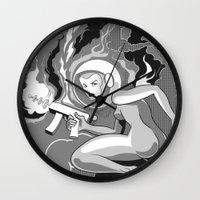 Space Girl with a Gun Wall Clock