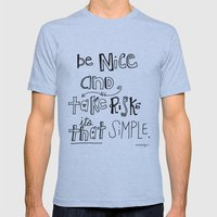 Nice + Risks = Happiness… Mens Fitted Tee Athletic Blue SMALL