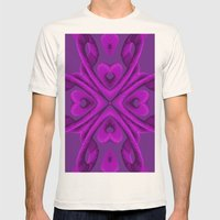 Hot Pink Hearts Mens Fitted Tee Natural SMALL