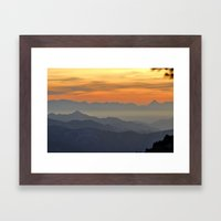 Mountains. Foggy sunset Framed Art Print