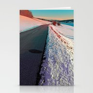 Winter Road In Vibrant C… Stationery Cards