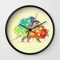 Opossum Rainbow Babies Wall Clock