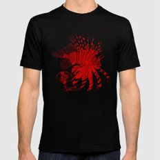 Chinese Cut Out Lion Fish Black Mens Fitted Tee SMALL