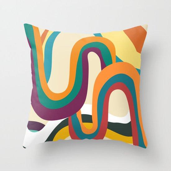 Groovy rainbow of doom Throw Pillow