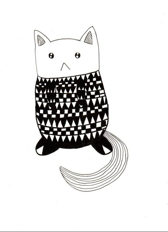 Cat with pattern  Art Print