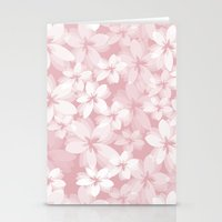 Pink and White Tropical Flowers Stationery Cards