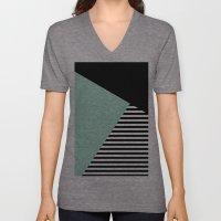 Mint Color Block with Stripes // www.penncilmeinstationery.com Unisex V-Neck