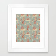 Reindeer, Trees and Elves Framed Art Print