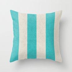 vintage aqua stripes Throw Pillow