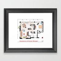 Floorplan of Dexter Morgan's Apartment v.1 Framed Art Print