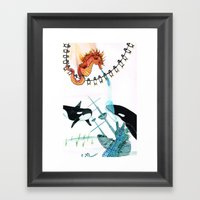 Penguins, whales, seahorses with a Sunken ship Framed Art Print