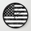 Dirty Vintage Black and White American Flag Wall Clock