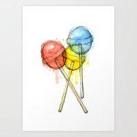 Lollipop Candy Watercolo… Art Print