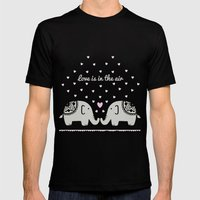 Love Elephants Mens Fitted Tee Black SMALL