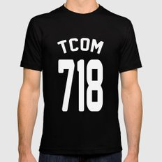 TCOM 718 AREA CODE JERSEY Mens Fitted Tee Black SMALL