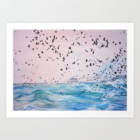 Birds at sea Art Print
