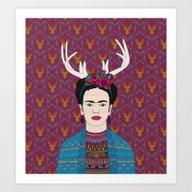 DEER FRIDA Art Print