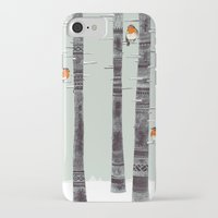 feathers iPhone & iPod Cases featuring Robin Trees by Sandra Dieckmann