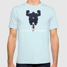 Exercise more. A PSA for stressed creatives. SMALL Light Blue Mens Fitted Tee