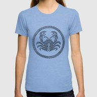 Zodiac Sign Cancer Womens Fitted Tee Athletic Blue SMALL