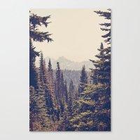 Mountains Through The Tr… Canvas Print