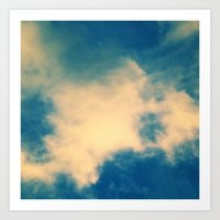 The Blue Sky Clouds Cubed Art Print