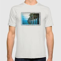 Capitola Pier Mens Fitted Tee Silver SMALL